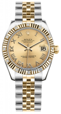 Rolex Datejust 31mm Stainless Steel and Yellow Gold 178313 Champagne Roman Jubilee