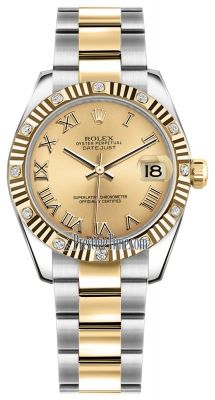 Rolex Datejust 31mm Stainless Steel and Yellow Gold 178313 Champagne Roman Oyster