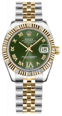 Rolex Datejust 31mm Stainless Steel and Yellow Gold 178313 Olive Green VI Roman Jubilee