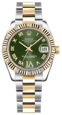 Rolex Datejust 31mm Stainless Steel and Yellow Gold 178313 Olive Green VI Roman Oyster