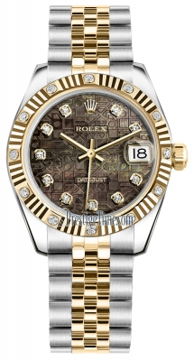 Rolex Datejust 31mm Stainless Steel and Yellow Gold 178313 Jubilee Black MOP Diamond Jubilee