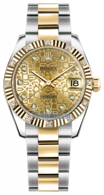 Rolex Datejust 31mm Stainless Steel and Yellow Gold 178313 Jubilee Champagne Diamond Oyster
