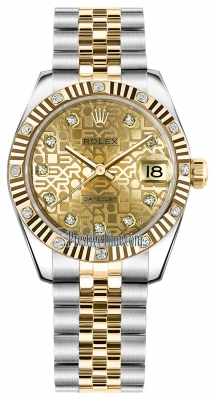 Rolex Datejust 31mm Stainless Steel and Yellow Gold 178313 Jubilee Champagne Diamond Jubilee