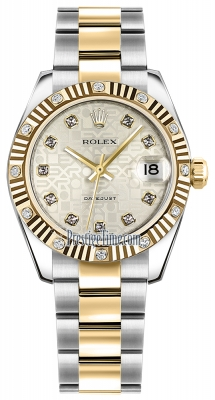 Rolex Datejust 31mm Stainless Steel and Yellow Gold 178313 Jubilee Silver Diamond Oyster