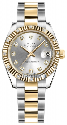 Rolex Datejust 31mm Stainless Steel and Yellow Gold 178313 Silver Diamond Oyster