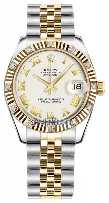 Rolex Datejust 31mm Stainless Steel and Yellow Gold 178313 White Roman Jubilee