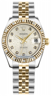 Rolex Datejust 31mm Stainless Steel and Yellow Gold 178313 Jubilee Silver Diamond Jubilee