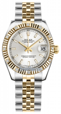 Rolex Datejust 31mm Stainless Steel and Yellow Gold 178313 Silver Index Jubilee