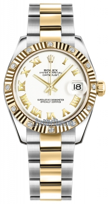 Rolex Datejust 31mm Stainless Steel and Yellow Gold 178313 White Roman Oyster