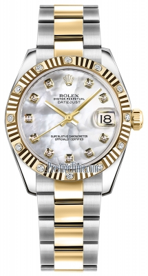 Rolex Datejust 31mm Stainless Steel and Yellow Gold 178313 White MOP Diamond Oyster