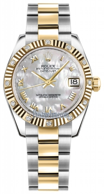 Rolex Datejust 31mm Stainless Steel and Yellow Gold 178313 White MOP Roman Oyster