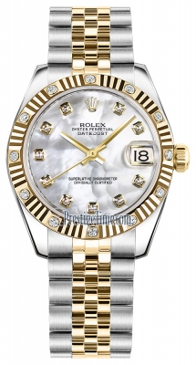 Rolex Datejust 31mm Stainless Steel and Yellow Gold 178313 White MOP Diamond Jubilee