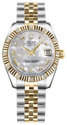 Rolex Datejust 31mm Stainless Steel and Yellow Gold 178313 White MOP Roman Jubilee