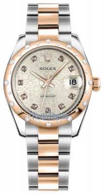 Rolex Datejust 31mm Stainless Steel and Rose Gold 178341 Jubilee Silver Diamond Oyster