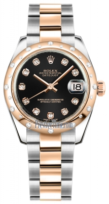 Rolex Datejust 31mm Stainless Steel and Rose Gold 178341 Black Diamond Oyster