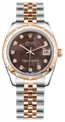 Rolex Datejust 31mm Stainless Steel and Rose Gold 178341 Black MOP Diamond Jubilee