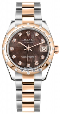 Rolex Datejust 31mm Stainless Steel and Rose Gold 178341 Black MOP Diamond Oyster