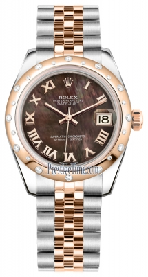 Rolex Datejust 31mm Stainless Steel and Rose Gold 178341 Black MOP Roman Jubilee