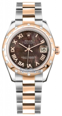 Rolex Datejust 31mm Stainless Steel and Rose Gold 178341 Black MOP Roman Oyster