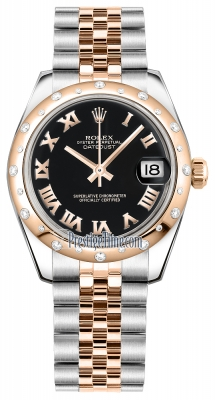 Rolex Datejust 31mm Stainless Steel and Rose Gold 178341 Black Roman Jubilee