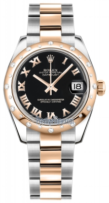 Rolex Datejust 31mm Stainless Steel and Rose Gold 178341 Black Roman Oyster