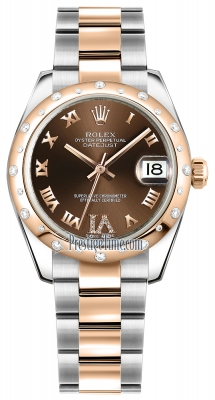 Rolex Datejust 31mm Stainless Steel and Rose Gold 178341 Chocolate VI Roman Oyster