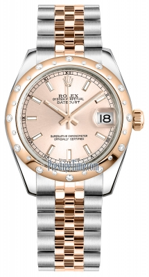Rolex Datejust 31mm Stainless Steel and Rose Gold 178341 Pink Index Jubilee