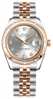 Rolex Datejust 31mm Stainless Steel and Rose Gold 178341 Silver Diamond Jubilee