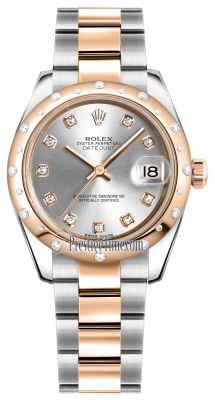 Rolex Datejust 31mm Stainless Steel and Rose Gold 178341 Silver Diamond Oyster