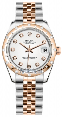 Rolex Datejust 31mm Stainless Steel and Rose Gold 178341 White Diamond Jubilee