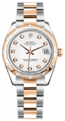 Rolex Datejust 31mm Stainless Steel and Rose Gold 178341 White Diamond Oyster