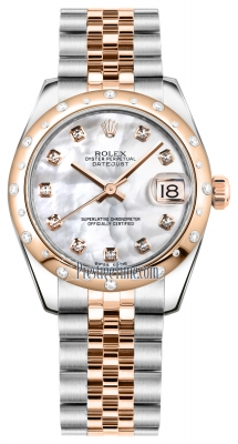 Rolex Datejust 31mm Stainless Steel and Rose Gold 178341 White MOP Diamond Jubilee