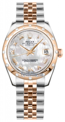 Rolex Datejust 31mm Stainless Steel and Rose Gold 178341 White MOP Roman Jubilee
