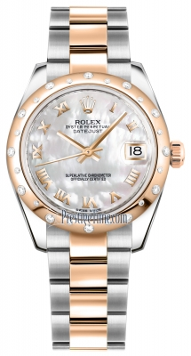 Rolex Datejust 31mm Stainless Steel and Rose Gold 178341 White MOP Roman Oyster