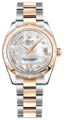 Rolex Datejust 31mm Stainless Steel and Rose Gold 178341 White MOP VI Roman Oyster