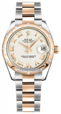 Rolex Datejust 31mm Stainless Steel and Rose Gold 178341 White Roman Oyster