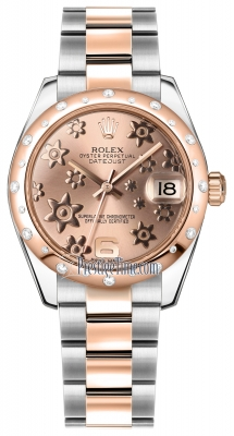 Rolex Datejust 31mm Stainless Steel and Rose Gold 178341 Pink Floral Oyster