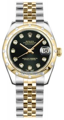 Rolex Datejust 31mm Stainless Steel and Yellow Gold 178343 Black Diamond Jubilee