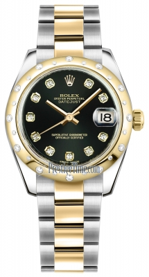 Rolex Datejust 31mm Stainless Steel and Yellow Gold 178343 Black Diamond Oyster