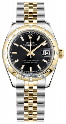 Rolex Datejust 31mm Stainless Steel and Yellow Gold 178343 Black Index Jubilee