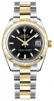 Rolex Datejust 31mm Stainless Steel and Yellow Gold 178343 Black Index Oyster