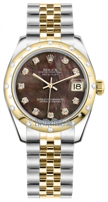 Rolex Datejust 31mm Stainless Steel and Yellow Gold 178343 Black MOP Diamond Jubilee