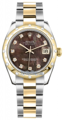 Rolex Datejust 31mm Stainless Steel and Yellow Gold 178343 Black MOP Diamond Oyster