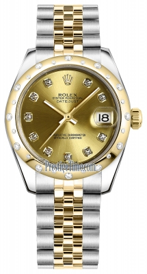 Rolex Datejust 31mm Stainless Steel and Yellow Gold 178343 Champagne Diamond Jubilee