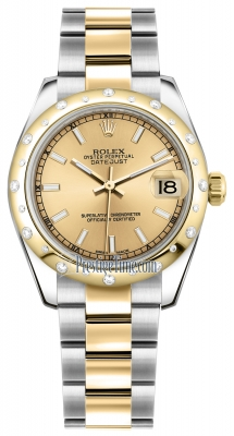 Rolex Datejust 31mm Stainless Steel and Yellow Gold 178343 Champagne Index Oyster