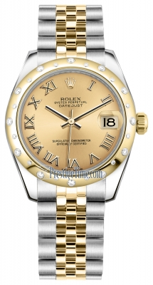 Rolex Datejust 31mm Stainless Steel and Yellow Gold 178343 Champagne Roman Jubilee