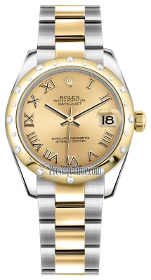 Rolex Datejust 31mm Stainless Steel and Yellow Gold 178343 Champagne Roman Oyster