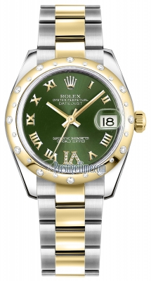Rolex Datejust 31mm Stainless Steel and Yellow Gold 178343 Olive Green VI Roman Oyster