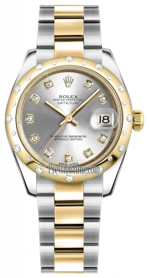 Rolex Datejust 31mm Stainless Steel and Yellow Gold 178343 Silver Diamond Oyster
