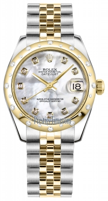 Rolex Datejust 31mm Stainless Steel and Yellow Gold 178343 White MOP Diamond Jubilee